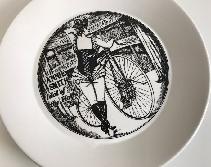 Cheeky Vintage 1960s Portmeirion Velocipedes Ceramic Plate Depicting Annie Smith Idol of the Halls in Black and White Transferware