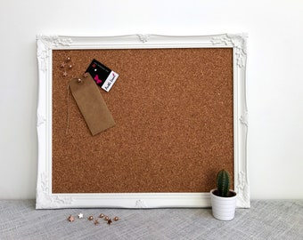 FRAMED PIN BOARD | White Framed Corkboard | White Ornate Framed Cork Board | Memo Board | Notice Board | Vision Board Framed Earring Display