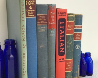 RED and BLUE Vintage Book Collection - Old Books Decoration - Interior Design Shelf Staging - Red and Blue Home Decor - Custom Sourced Books