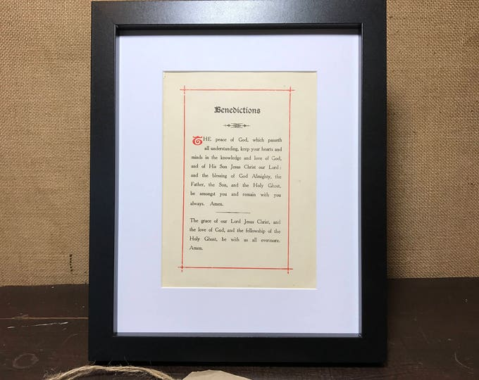 Bible Page Print of The Benediction Prayer | Mounted Vintage Book Page Print | Printed Catholic Prayer | Confirmation Gift