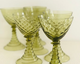 Olive Green Drinking Glasses | Pretty Green Wine Goblets Bohemian Rummer Style Long Stem Wine Glasses in Moss Green