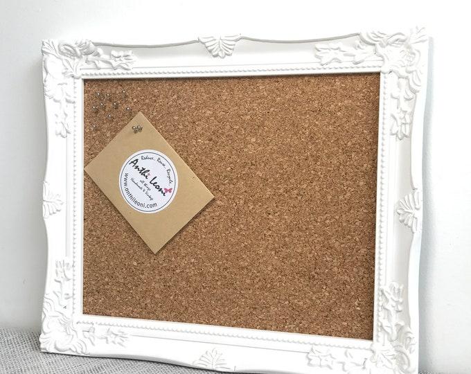 White Wooden Framed Cork Board | Framed Pin Board | Ornate Cork Board | Notice Board | Vision Board | Framed Message Board | Pinboard
