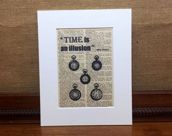 Time Is An Illusion | Albert Einstein Quote | Motivational Quote | Vintage Style Print | Dictionary Print | Antique Pocket Watch Print