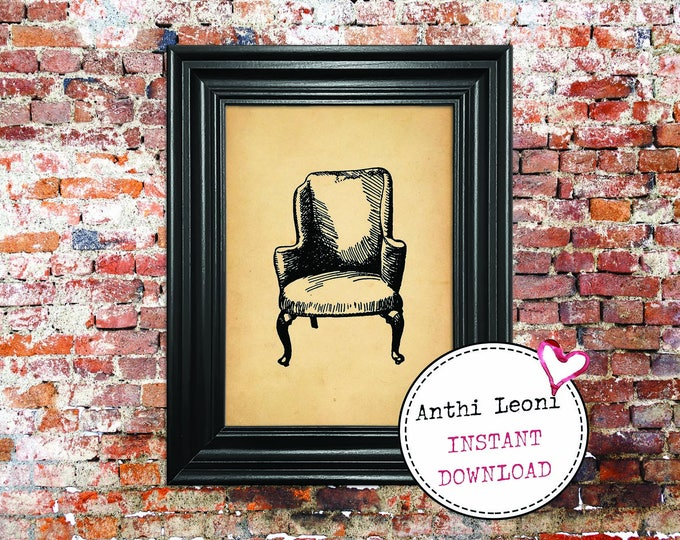 Antique Chair Instant download | Vintage Old Paper Print Design | Old Chair Book Page Illustration | Just Download and Print #0005