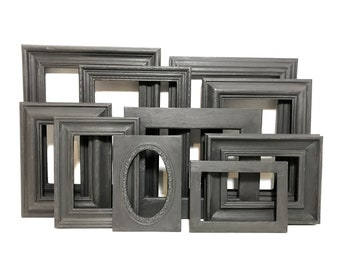 Painted Ornate Frames in Black - Set of Black Painted Shabby Vintage Chic Frames - Assorted Black Gothic Frame Set