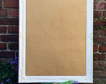 FRAMED BURLAP BOARD - Large Pin Board - White Vision Board - Ornate Hessian Board - Shabby Chic Notice Board - Framed Message Board