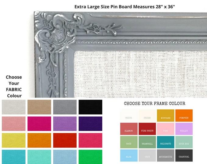 Large Pin Board Framed Hessian Fabric Bulletin Board Ornate Notice Board Large Cork Vision Board Wedding Decor Custom Made To Order Colours