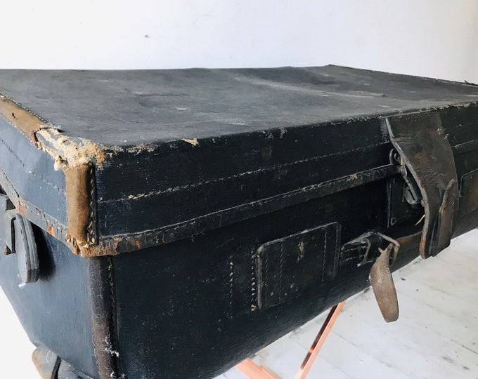 Large Black Antique Leather Portmanteau Suitcase Trunk For Coffee Table Interior Design Home Decor or Photography Prop
