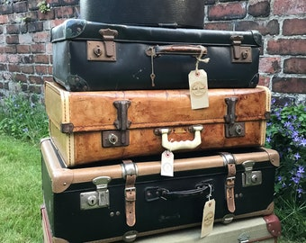 Assorted Vintage Suitcases | Vintage Luggage | Vintage Home Decor | Vintage Storage Solution | Vintage Cases | Photo Props