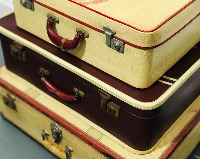 Cream and Red Vintage Suitcase Stack of 3   Red Retro Luggage   Vintage Suitcases   Red and Cream Home and Retail Interior Design Props