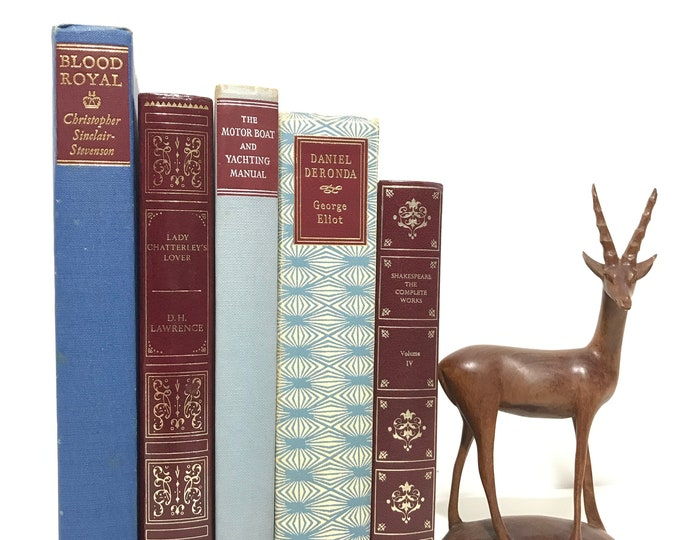 Wine Red and Blue Gold Silver Decorative Book Collection Old Leather Bound Books for Decoration Home Library Interior Decor Shelf