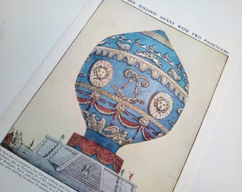 Victorian Hot Air Balloon in Blue | First Free Ballon Ascent with Two Passengers Book Page Print