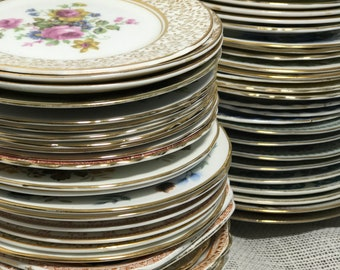 "12 China Dinner Plate Stack | China Dinner Plates | Mix and Match Supper Plates | Vintage Plates | Vintage China Plates 9""-10"""