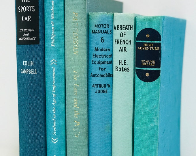 Teal Blue Decor Book Collection Decorative Turquoise Blue Books For Bookshelf Display Library Decor Photo Props and Interior Design