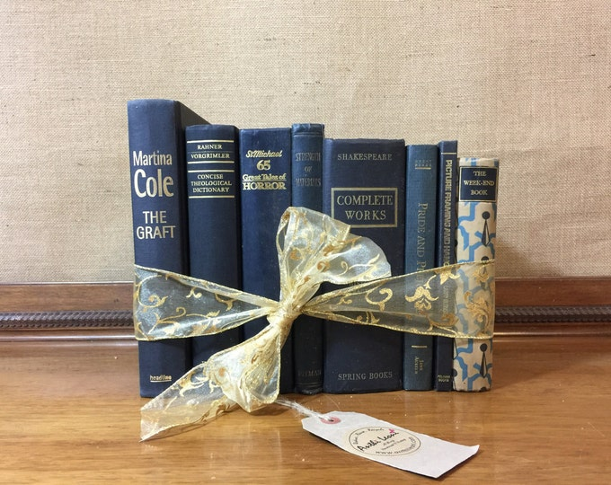Black & Gold Vintage Book Collection - Old Books Decoration - Foot Long Shelf Staging - Home Decor and Interior Design Props