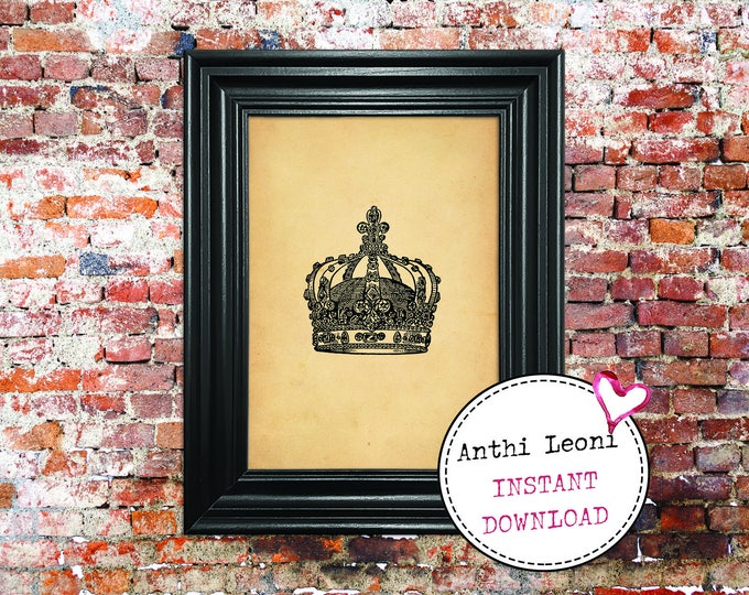 Crown Printable | Printable Crown | Crowns Printable | Old Crown Book Plate | Crown | Printable Bookplate | Download and Print #0013