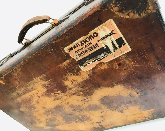 Brown Antique Leather Suitcase Finnigans of Manchester and Liverpool | Quality Designer Antique and Vintage Luggage
