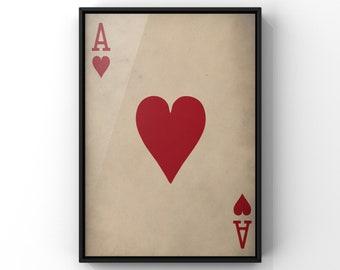Playing card print gothic wall art Ace of Hearts Art Print dark art. 8x10