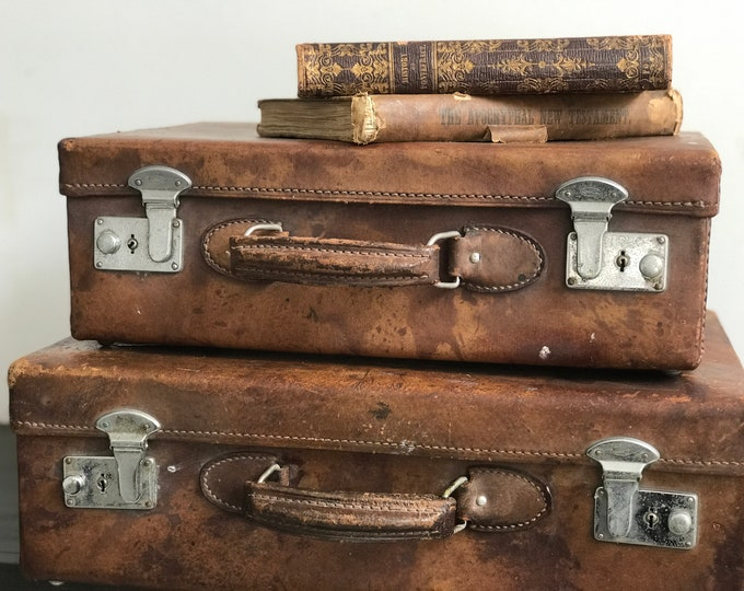 2 x Small Brown Leather Vintage Suitcases with Silver Clasps | Vintage Luggage Pair | Vintage Home Decor Antique Cases Photo Props