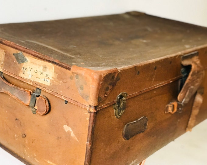 Large Brown Antique Leather Portmanteau Suitcase Trunk For Coffee Table Interior Design Home Decor or Photography Prop