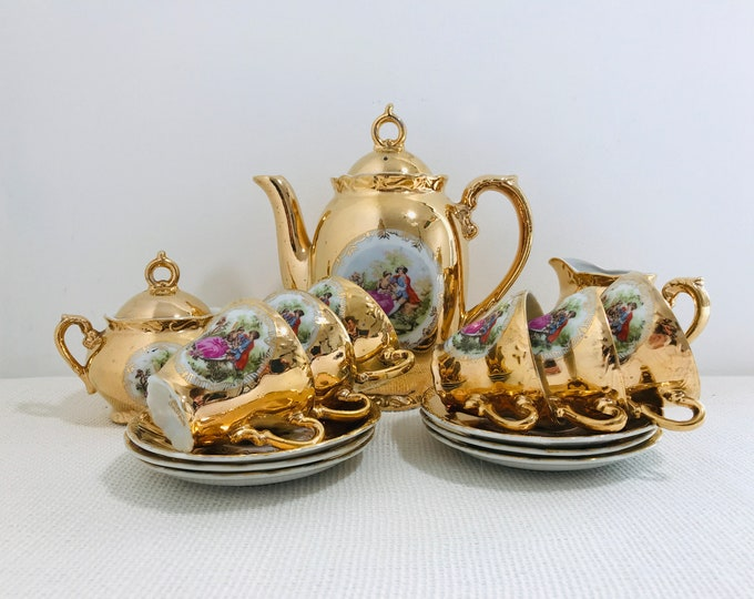 Love Story Gold Coffee Set Fragonard Style Coffee Set Reproduction Love story Gold Lustreware Coffee Set and Demitasse Cups and Saucers