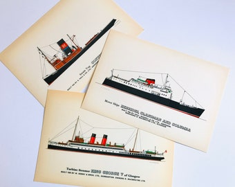 Set of 3 Large Vintage Ship Postcards for Framing as Prints | Collectors Reproduction Supercard