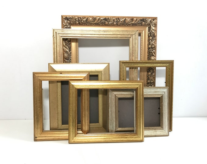 Vintage Ornate Gold Frames Collection For Gallery Wall Display Assorted Old Frames For Painting or Upcycle Project