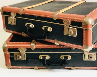 Pair of Rustic Style Vintage Suitcases in Black and Brown with Wood Trim | Vintage Luggage Set | Interior Design Photo Props or Storage
