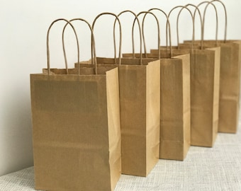 Kraft Bags | 5 Craft Bags | Small Brown Bags | 200mm x 140mm | Brown Gift Bags | Kraft Gift Bags | Brown Raffia Bags | Twisted Handle Bags