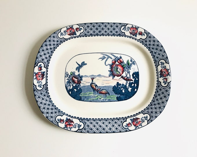Rare Antique 1920s China Collectable Blue and White Plate | Collectible Serving Plate 30cm x 24cm Made in England
