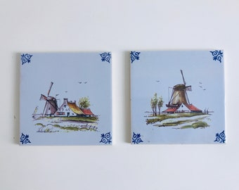 Set of 2 Delft Style Tiles with Windmills | Decorative Wall Tiles