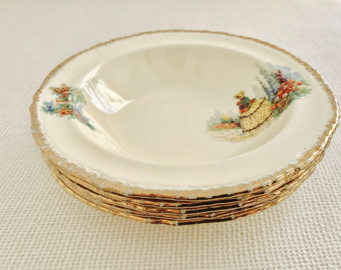 Fryer & Son Tunstall China Bowls Crinoline Lady Design | Set of 5 Pretty Decorative China Deep Bowls Dessert with Gilt Edge Rim