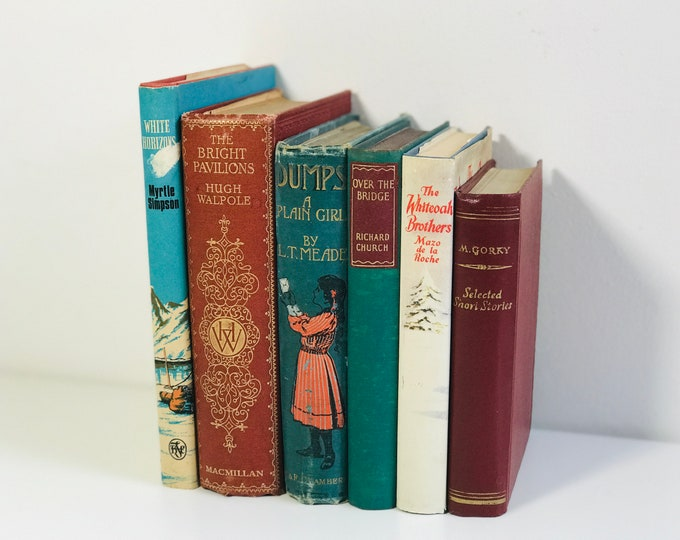 Burnt Orange Teal and Brown Vintage Decorative Books Bundle | Old Books For Decoration | Green and Brown Home Decor