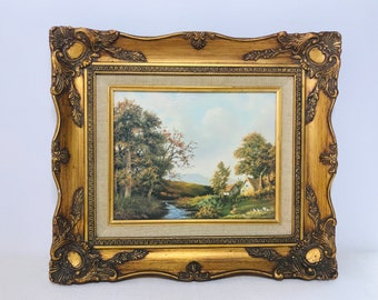 Vintage Gold Ornate Framed Landscape Painting English Country Scene of Two Cottage Hills Stream and Trees