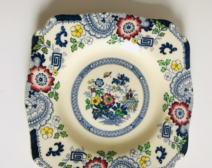 "Small Coalport Canton Square Plate with Decorative Red and Blue Floral Design | 6"" Ironstone China Cake or Side Plate"