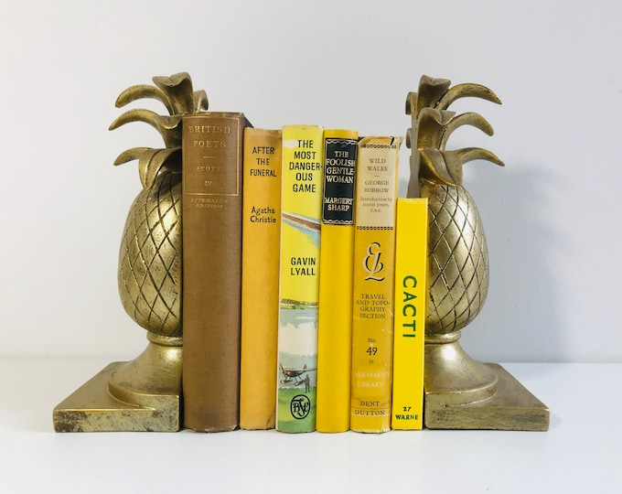 Yellow and Brown Vintage Old Books | Decorative Old Book Collection For Home Decor and Interior Design | Old Book Bundle