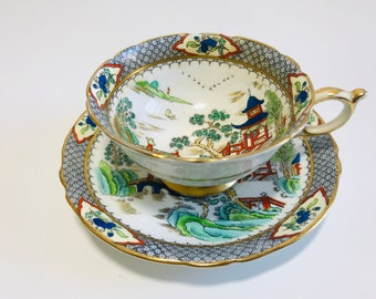 Rare Oriental Style China Tea Cup and Saucer By Appointment HM Queen and HM Queen Mary | Antique Bone China Teacup and Saucer