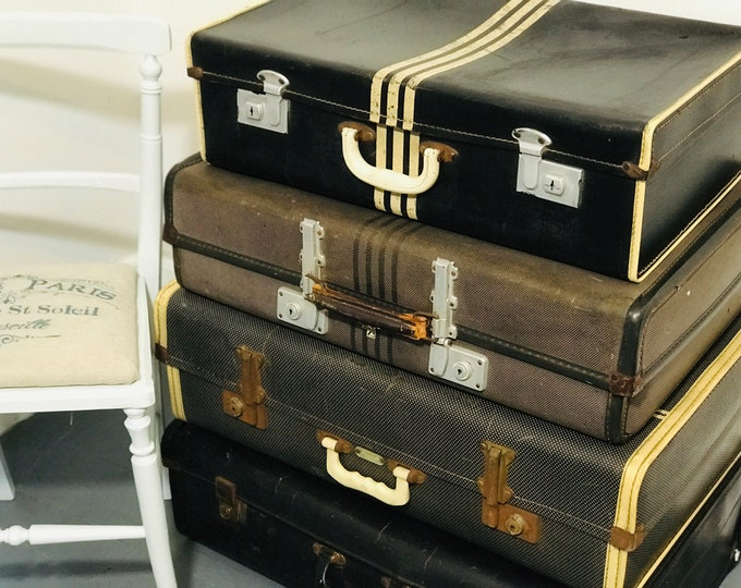 Black and Cream Vintage Luggage Collection For Home Interior Decor Antique 1920s Art Deco Striped  Designer Style Suitcase Set