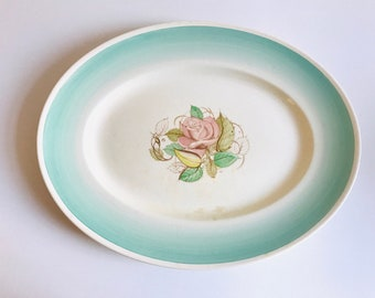 "SUSIE COOPER Prodcution Crown Works Burslem England Dresden Ceramic Oval Serving Platter 16"" Mint Green"