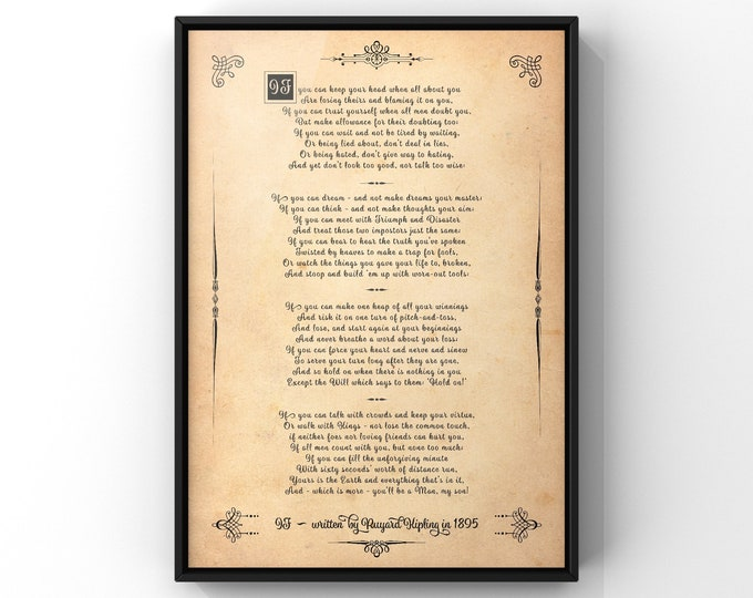 IF Poem Print You'll Be A Man My Son by Rudyard Kipling Gift For Son On His Wedding Day Inspirational Poetry