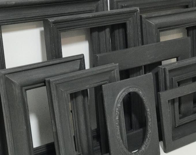 Set of Black Painted Shabby Vintage Chic Style Frames | 10 x Assorted Black Frame Set