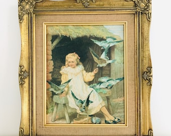 Vintage Gold Ornate Framed Reproduction Print on Board of Young Country Girl with Golden Hair and Birds Scene Thatched Roof