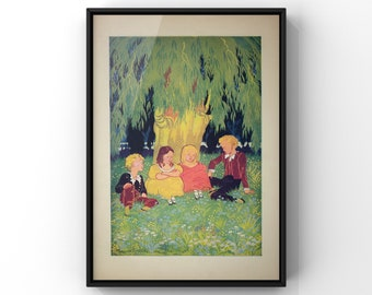 Children's Woodland Print | Girls and Boys Room Wall Art Decor | Antique Style Bookpage Print | SC00358