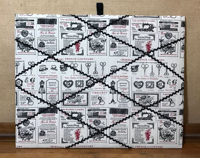 Memo Board | Photo Board | Craft Room Decor | Sewing Gift | Noticeboard | Photo Holder | Red and Black Decor | 60cm x 50cm