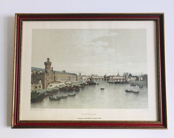 Paris En 1650 Large Framed Antique Colour Lithographic Print Ornate Red and Gold Frame