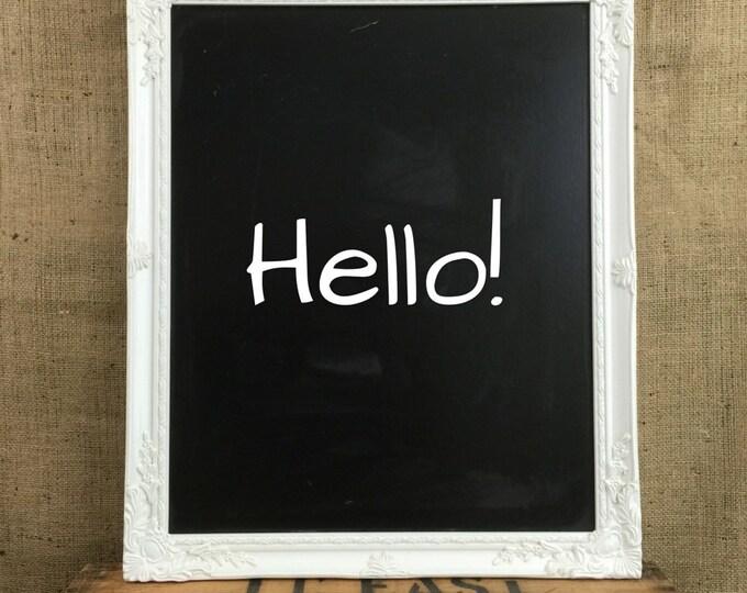 WHITE FRAMED CHALKBOARD - White Baroque Style Framed Wedding Sign Board - White Rococo Style Framed Blackboard - Wedding Planner Board