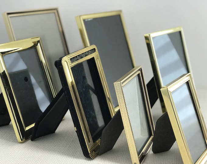 7 x Small Assorted Vintage Brass Gold Metal Photo Picture Frames Mid Century Portrait Frames