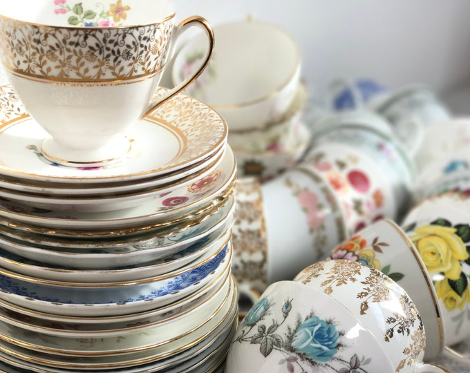 Featured listing image: Wedding China | Wedding Decor | Vintage Tea Cups and Saucers | 40 Pieces Mixed Wedding China | Event China | Tea Cups and Saucers