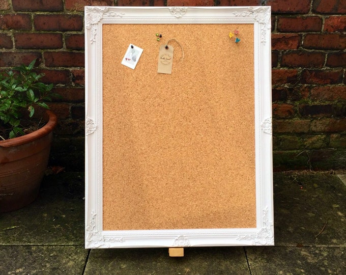 LARGE FRAMED CORKBOARD | Extra Large Pin Board | Ornate Cork Board | Shabby Chic Notice Board | Large Vision Board | Framed Message Board