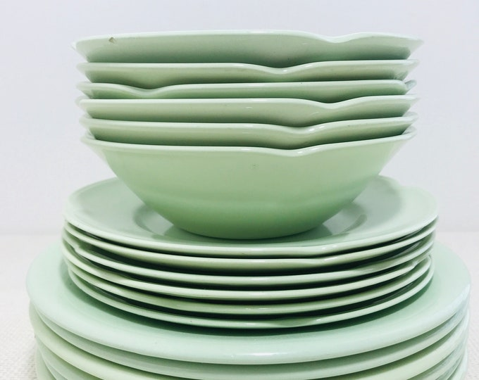 Mint Green Retro China Plates and Bowls 18 Pieces of Vintage Mid Century Serving Ware
